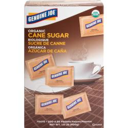 Genuine Joe Turbinado Natural Cane Sugar Packets - 0 lb (0.2 oz) - Molasses Flavor - Natural Sweetener - 200/Box