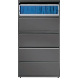 "Lorell® 36""W Lateral 5-Drawer File Cabinet, Metal, Charcoal"