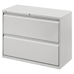 """Lorell® Fortress 36""""W Lateral 2-Drawer File Cabinet, Metal, Light Gray"""
