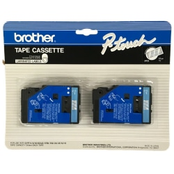 """Brother® TC-12 Blue-On-Clear Tapes, 0.5"""" x 25', Pack Of 2"""