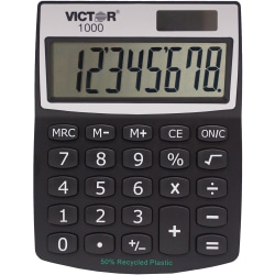 """Victor 1000 Mini Desktop Calculator - Large LCD, Battery Backup, Independent Memory, Plastic Key, Dual Power - 0.71"""" - 8 Digits - LCD - Battery/Solar Powered - 0.5"""" x 3.3"""" x 4.3"""" - Black - Plastic - 1 Each"""