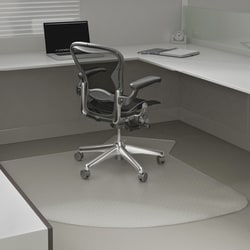 """Deflect-O® SuperMat Checkered Rectangular Chair Mat, 60"""" x 66"""", Clear"""