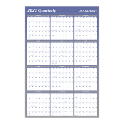 """AT-A-GLANCE® Reversible Erasable Yearly Wall Calendar, 24"""" x 36"""", Blue, January to December 2021, A1102"""
