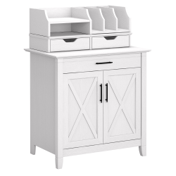 Bush Furniture Key West Secretary Desk With Storage And Desktop Organizers, Pure White Oak, Standard Delivery