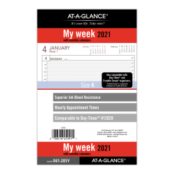"AT-A-GLANCE® Weekly Planner Refill, 5-1/2"" x 8-1/2"", Black/White, January To December 2021, 061-285Y"