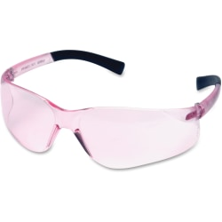 Pink Lens Safety Glasses with Rubber Temple Tips, 821 FIT Style Series - Wraparound Lens, Non-Slip Temple, Soft, Comfortable, Frameless, Anti-fog - Small Size - Ultraviolet, Impact, Fog Protection - Rubber Temple - Pink - 12 / Box