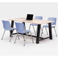 KFI Studios Midtown Table With 4 Stacking Chairs, Kensington Maple/Peri Blue