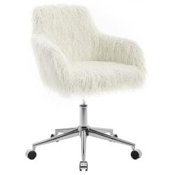 Linon Home Decor Aria Faux Fur Mid-Back Home Office Chair, White/Chrome