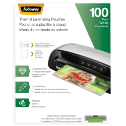 """Fellowes® Laminating Pouches, Letter, 5 mil, 11 1/2"""" x 9"""", Clear, Pack Of 100"""