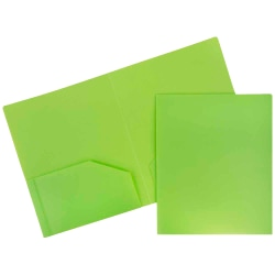"JAM Paper® Heavy-Duty 2-Pocket Plastic Presentation Folders, 9"" x 12"", Lime Green, Pack Of 6"