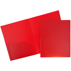 "JAM Paper® Heavy-Duty 2-Pocket Plastic Presentation Folders, 9"" x 12"", Red, Pack Of 6"