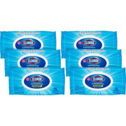 Clorox Disinfecting Wipes Flex Pack - Wipe - Crisp Lemon Scent - 75 / Packet - 6 / Carton - White