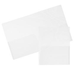"JAM Paper® Regular-Weight 2-Pocket Plastic Presentation Folders, 9"" x 12"", Clear, Pack Of 6"