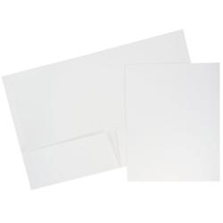 """JAM Paper® Glossy 2-Pocket Presentation Folders, 8-1/2"""" x 11"""", White, Pack Of 6 Folders"""