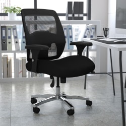 Flash Furniture HERCULES Series 24-7 Intensive Use Big & Tall Mesh Office Chair With Ratchet Back, Black/Gray
