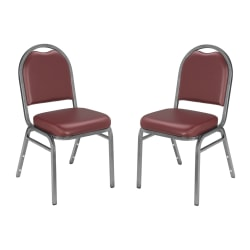 National Public Seating Dome-Back Stacking Chairs, Vinyl, Pleasant Burgundy/Silvervein, Set Of 2