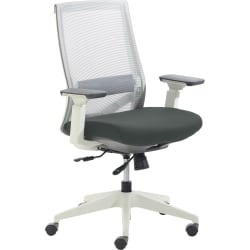 True Commercial Pescara Mesh/Fabric Mid-Back Executive Chair, Dark Gray/Off-White