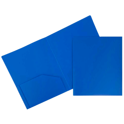 "JAM Paper® Plastic 2-Pocket POP Folders, 9 1/2"" x 11 1/2"", Blue, Pack Of 6"