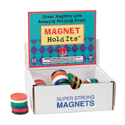 "Dowling Magnets Chunky Magnets, Button, 1 1/8"", Assorted Colors, Box Of 40"