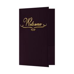 """LUX Welcome Folders, 5 3/4"""" x 8 3/4"""", Dark Purple Linen/Gold Foil, Pack Of 25 Folders"""