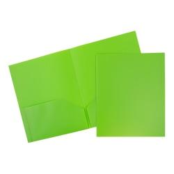 "JAM Paper® Plastic 2-Pocket POP Folders, 9 1/2"" x 11 1/2"", Lime Green, Pack Of 6"