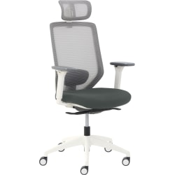 True Commercial Phoenix Mesh/Fabric High-Back Executive Chair With Headrest, Dark Gray/Off-White