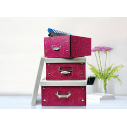 GNBI Fiberboard Snap Storage Boxes, Wine/Gray, Pack Of 3 Boxes