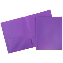 "JAM Paper® Plastic 2-Pocket POP Folders, 9 1/2"" x 11 1/2"", Purple, Pack Of 6"