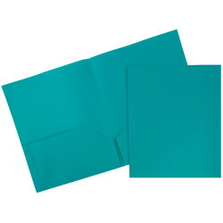 "JAM Paper® Plastic 2-Pocket School POP Folders, 9 1/2"" x 11 1/2"", Teal, Pack Of 6"