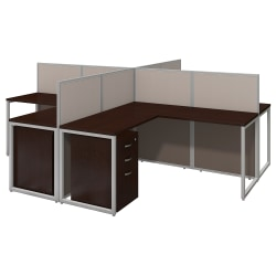 """Bush Business Furniture Easy Office 60""""W 4-Person L-Desk Open Office With Four 3-Drawer Mobile Pedestals, 44 15/16""""H x 119 1/8""""W x 119 1/8""""D, Mocha Cherry, Premium Delivery"""