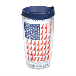 Tervis Project Paws Tumbler With Lid, Dog Flag, 16 Oz, Clear/Navy