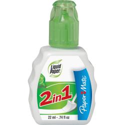 Paper Mate Liquid Paper 2-in-1 Correction Fluid - Foam Wedge, Tip Applicator - 0.74 fl oz - White - 1 Each