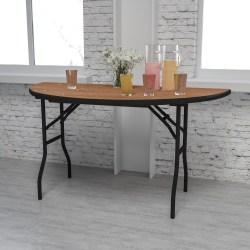 "Flash Furniture Half-Round Folding Banquet Table, 30-1/4""H x 60""W x 30""D, Natural/Black"