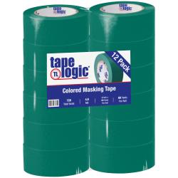 "Tape Logic® Color Masking Tape, 3"" Core, 2"" x 180', Dark Green, Case Of 12"