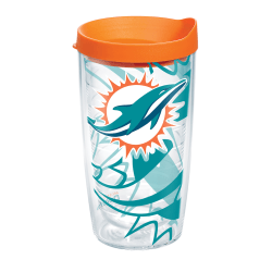 Tervis NFL Tumbler With Lid, 16 Oz, Miami Dolphins, Clear