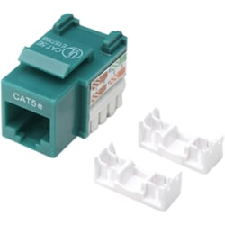 Intellinet Network Solutions Cat5e Keystone Jack, UTP, Punch-Down, Green - Compatible With 110 and Krone Punch-Down Tools