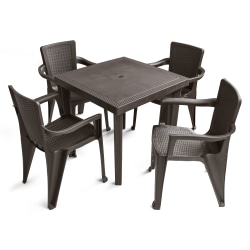 Inval America Polypropylene 5-Piece Table And Chair Set, Espresso