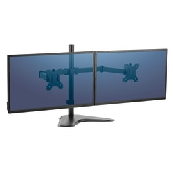 "Fellowes® Professional Series Freestanding Dual Horizontal Arm For Monitors Up To 30"", 19 1/2""H x 35""W x 11""D, Black, 8043701"