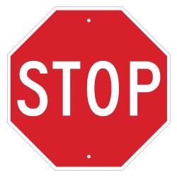 "Brady ""STOP"" Sign, 18"" x 18"", Red/White"