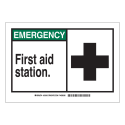 "Brady ""EMERGENCY First Aid Station"" Sign, 7"" x 10"", Multicolor"