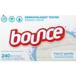 "Bounce Free/Gentle Dryer Sheets - Sheet - 6.40"" Width x 9"" Length - 240 / Box - 1440 / Carton - White"