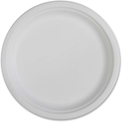 Genuine Joe Sugarcane Disposable Plates, White,  50 Per Pack, Case of 500 Plates