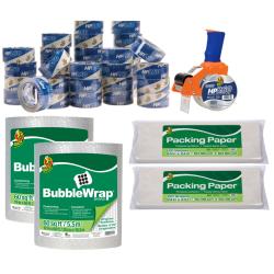 Duck® Brand BladeSafe Tape Gun & 36 Rolls Of 120' Bubble Wrap Packaging Bundle, Clear