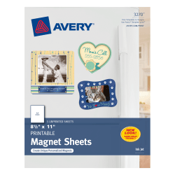 "Avery® Inkjet Magnet Sheets, 8 1/2"" x 11"", Pack Of 5 Sheets"