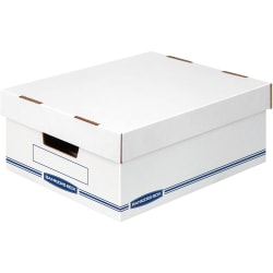 "Bankers Box Organizers Storage Boxes - External Dimensions: 12.8"" Width x 16.5"" Depth x 6.5"" Height - Medium Duty - Single/Double Wall - Stackable - White, Blue - For Storage - Recycled - 12 / Carton"