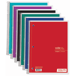 """Just Basics® Spiral Notebook, 7 1/2"""" x 10 1/2"""", 1 Subject, Wide Ruled, 70 Sheets, Assorted Colors"""