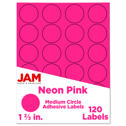 "JAM Paper® Circle Labels, 1-5/8"", Neon Pink, 24 Labels Per Sheet, Pack Of 5 Sheets"