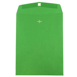 """JAM Paper® Open-End Catalog Envelopes With Clasp Closure, 10"""" x 13"""", 30% Recycled, Green, Pack Of 10"""