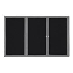 "Ghent Ovation 3-Door Bulletin Board, Fabric, 48"" x 72"", Black, Gray Aluminum Frame"