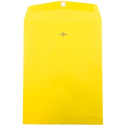 """JAM Paper® Open-End Catalog Envelopes With Clasp Closure, 10"""" x 13"""", 30% Recycled, Yellow, Pack Of 10"""